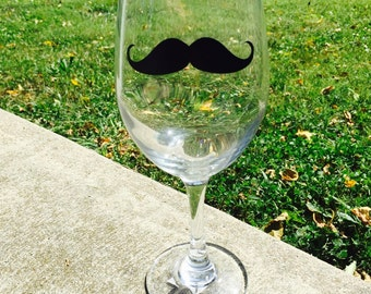 Mustache Wine Glass
