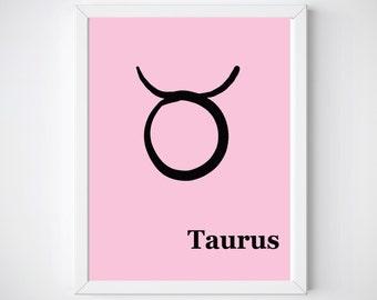 Taurus Gift for Her, Birthday Gift, Astrology Wall Art,  Zodiac Prints, Printable Art, Horoscope Art, Digital Print, Girl Nursery Decor ,