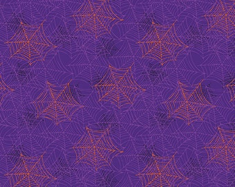 Boooo Ville, Halloween Fabric, Orange and Purple Spider Webs on Purple Background, By Benartex, 2430