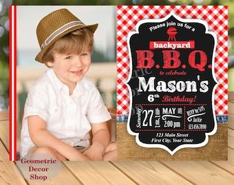 BBQ Red Plaid Birthday Party Invitation Invite Rustic 1st Birthday Boy Girl Neutral Burlap denim barbecue barbeque Photo Photograph BDBBQ2