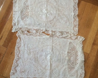 Pair of normandy lace pillowcases worh hand done whitework