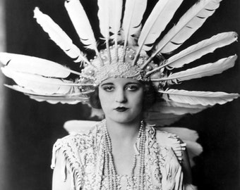 Tallulah Bankhead Feather Headdress Ziegfeld Follies Girl Cheney Johnston Art Deco Poster Artwork Photo 11x14 or 16x20