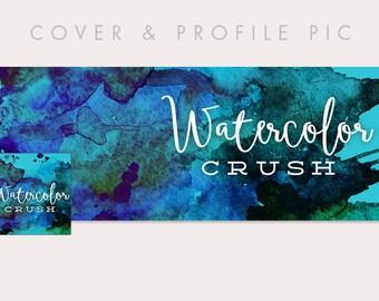 Watercolour Timeline Cover + Profile Picture 'Watercolor Crush'| Cover, Profile Picture, Branding, Web Banner, Blog Header