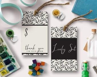 Printable Swing Tag   Leafy   Shop tag, store price card, thank you card, hang tag   DIGITAL   Print at Home DIY Tag   EB154
