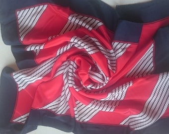 Pure Silk Square Scarf - Nautical Geometric Theme in Red Navy and White - Perfect Unused Vintage Stock from 1980s