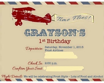 Printable-Vintage Airplane/Time Flies Birthday Invitation
