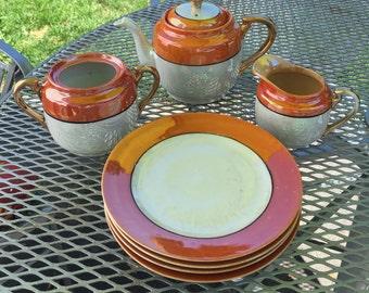 Vintage Hand Painted Made in Japan Lusterware Teapot, Sugar, Creamer, Plates, Dessert Set