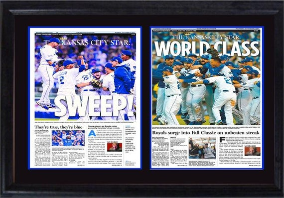 12x18 double newspaper frame kansas city royals champions