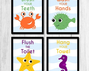 Kids Bathroom Art Printables Brush Wash Flush Art Brush Your Teeth Digital Download Under the Sea Bathroom Prints Set of 4 Seahorse