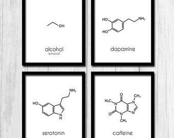 Dna art dna poster nucleotides printable art science art alcohol sign digital download caffeine sign printable art chemicals sign dopamine chemical sign molecules serotonin alcohol ccuart Image collections