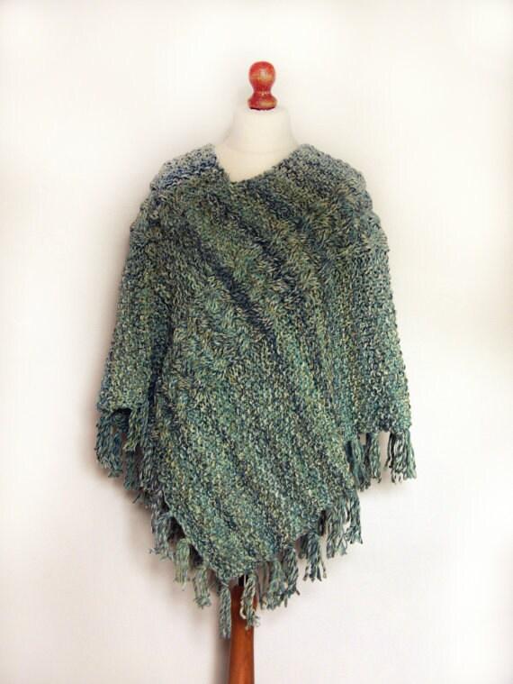 Knitting Pattern Chunky Cape : Ladies Poncho Ladies Hand Knitted Chunky by OriginalArtworksSuzN