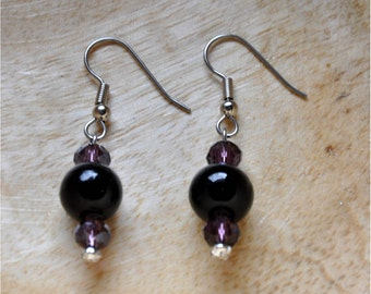 Black and Amethyst Dangle Earrings