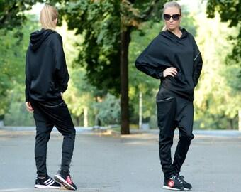 Oversized Sweater/ Plus Size Hoodie / Black Sweatshirt / Workout Sweatshirt / Gym Top / Casual Hoodie / Maxi Top / Oversize Hoodie