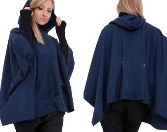 Women Poncho / Maxi Wrap / Cape Coat / Cape Poncho / Extravagant Poncho / Short Coat / Oversize Coat / Plus Size Hoodie / Women Coat