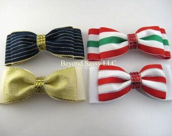 Christmas Rhinestone Retro Tuxedo Hair Bow Barrette-You Pick 1