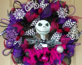 Jack Skellington Christmas Wreath with Jack Photo Prop and Other Christmas Ornaments--Nightmare before Christmas--Pink and Purple