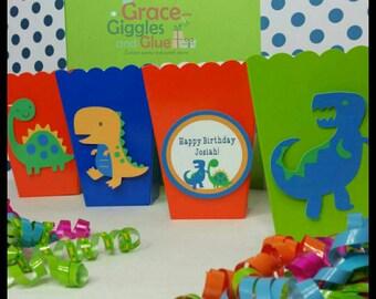 10 Dinosaur Themed  Snack/Favor Boxes, Dino Popcorn Box,