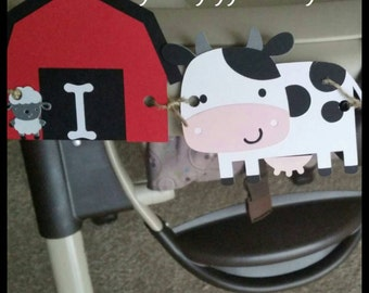 "Farm/ Barnyard Party ""I AM ONE"" Highchair Banner, Age High Chair Banner, First Birthday Banner"