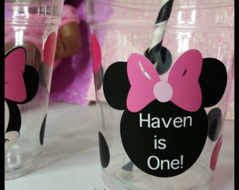 12 Personalized Minnie Inspired Party Cups