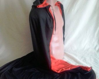 Black and red hooded cloak for Dracula
