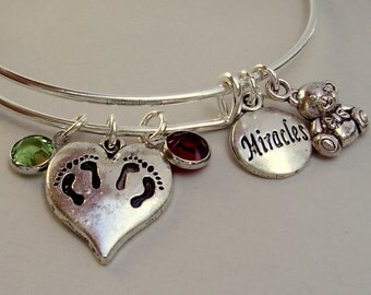TWINS Charm /  Teddy Bear / Miracles charm Bangle  W/ Birthstones / New Mothers / Gift For Her Usa TW1