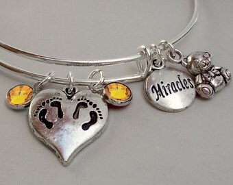 TWINS Charm /  Teddy Bear / Miracles charm Bangle  W/ Birthstones / New Mothers / Gift For Her Under 20  TW1
