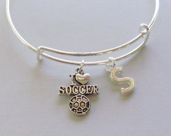 I LOVE SOCCER Bangle  / Bracelet  Soccer Charm Bracelet W/ INITIAL  School Sports Bangle Under Twenty  Gift  For Her Usa SP1