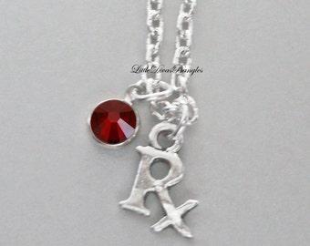 RX Pharmacist  NECKLACE W/ Swarovski Birthstone Crystal  /  Nurse  Necklace / Gift For Her / Under 20  Usa   NK1