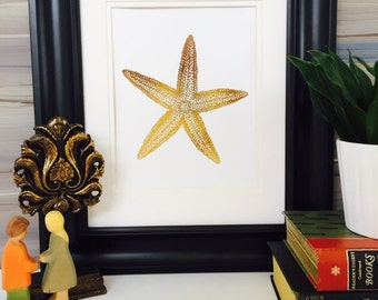 Starfish Decor, Starfish print, Gold Foil Print, Gold Starfish Art, Nautical Home Decor, beach decor, rose gold decor