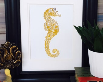 Seahorse, Wall Decor, Gold Foil Print, Gold Seahorse Decor, coastal decor, nautical wall decor, Gold foil art