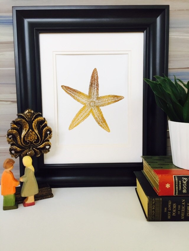 Gold Starfish Wall Decor : Starfish decor print gold foil