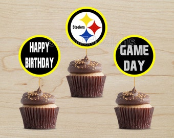pittsburgh steelers cupcake toppers, pittsburgh steelers party, pittsburgh steelers birthday, football party, DIGITAL DOWNLOAD