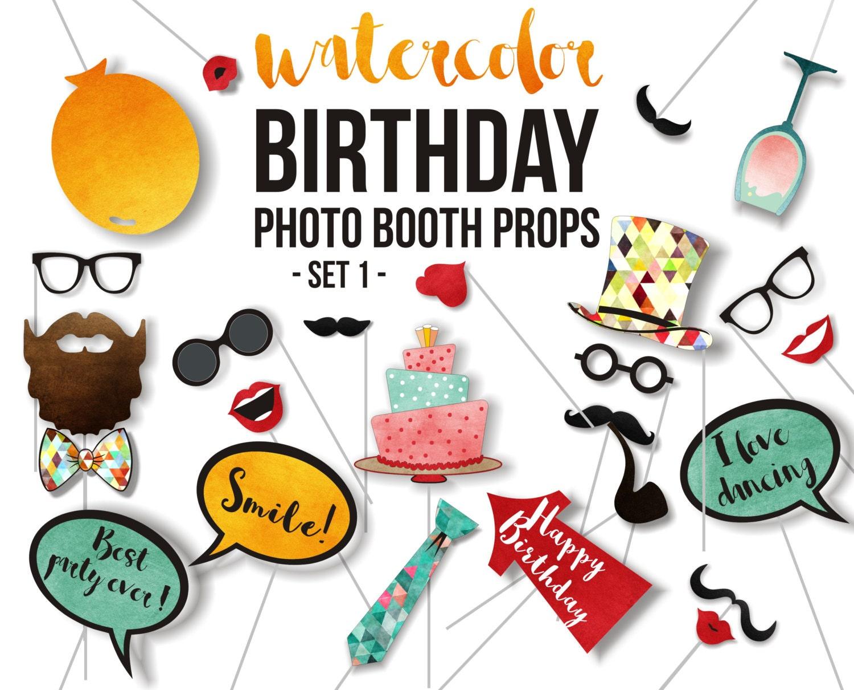 Printable Birthday Photo Booth Props ~ Birthday printable photo booth props party piece