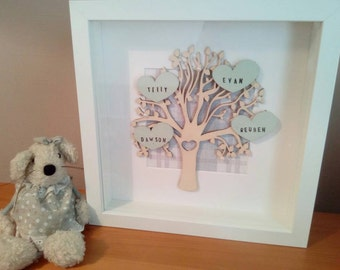 Family tree frame, Personalised  gift, Home decor, Family tree picture, wooden tree, New home gift, Wall hanging, Box frame, Bespoke