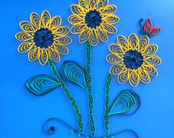 Handmade Quilled Paper Black-eyed Susan Art