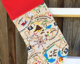 Handmade pirate Christmas stocking, 100% cotton