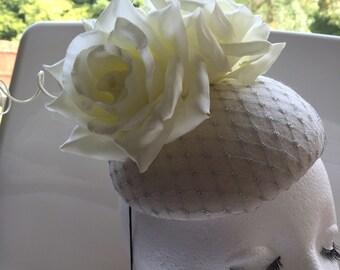 Ivory pilbox wool felt fascinator