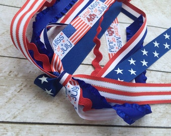 4th of July Ribbon Streamer - Independence Day Ponytail Ribbon Streamers - Girl Hair Ribbon Clips