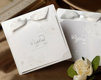 Silver garden flowers wedding invitation