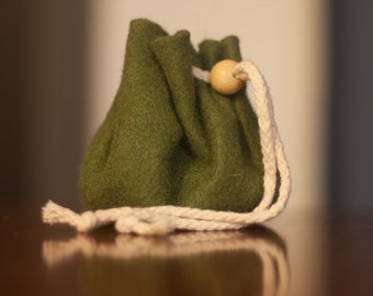 Felt Dice Bag - Olive Green