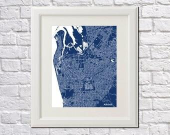 Adelaide Street Map Print Map of Adelaide City Street Map Australian Poster City Art Poster 7022P