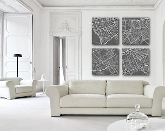 London Street Map Prints Set of 4 City Street Map Posters Minimalist Home Decor Wall Art 7034