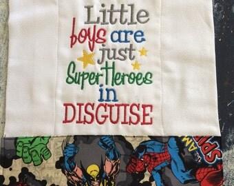 Little boys are superheros burp cloth