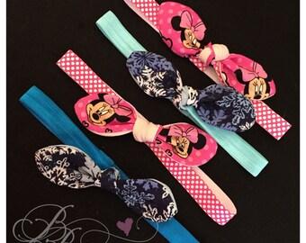 Top knot elastic headbands