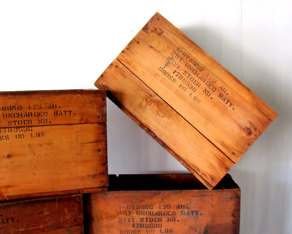 Vintage wood crate navy world war ii by paperboysvintage on etsy