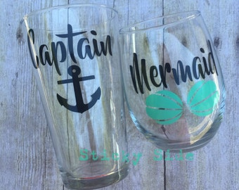 Captain and Mermaid Glass Set | Couples Glass Set | Wedding Gift | Captain Beer Glass | Mermaid Wine Glass | Mermaid | Captain | Couple Gift