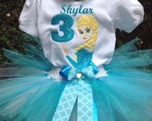 Disney Frozen Elsa 3rd Birthday Outfit Onesie Tutu and FREE Hair Bow Personalized Turquoise White Yellow