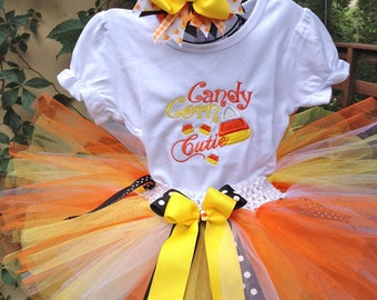 Girl Thanksgiving Outfit Baby Girl Thanksgiving Shirt Fall Thanksgiving Candy Corn Cutie Outfit Orange and Yellow Thanksgiving Tutu