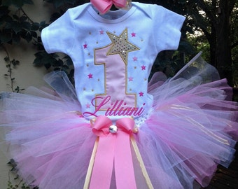 Pink Gold Star 1st Birthday Outfit Onesie Tutu and FREE Hair Bow
