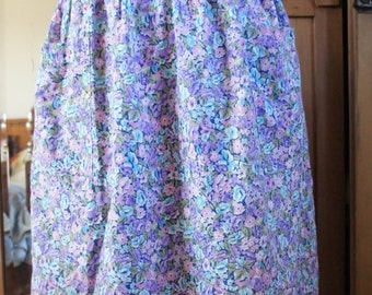 True Vintage 1960s Floral Knee Length Skirt With Large Pockets And Elastic Waist UK Size 8-14 US 4-10